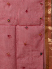 Magenta hand embroidery cotton saree