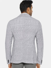 White and black pinstripe cotton blazer