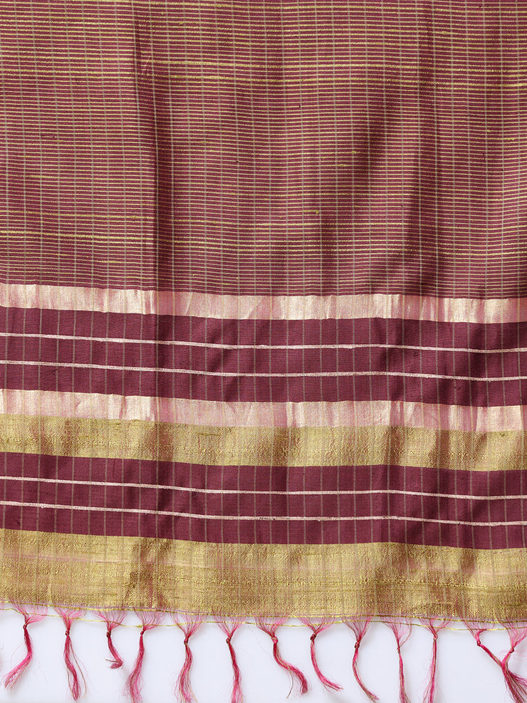 Olive Green Handloom Tussar Silk Saree