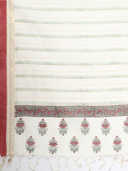 Plain white block print cotton saree