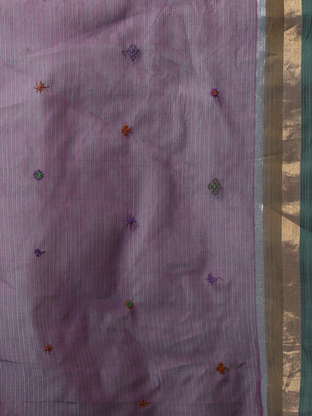 Lavender hand embroidery cotton saree