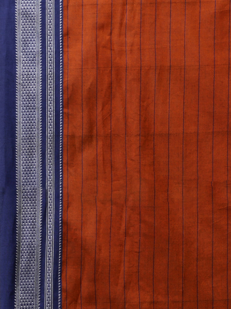 Ilkal orange handloom cotton saree