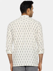 White ikat extended collared shirt