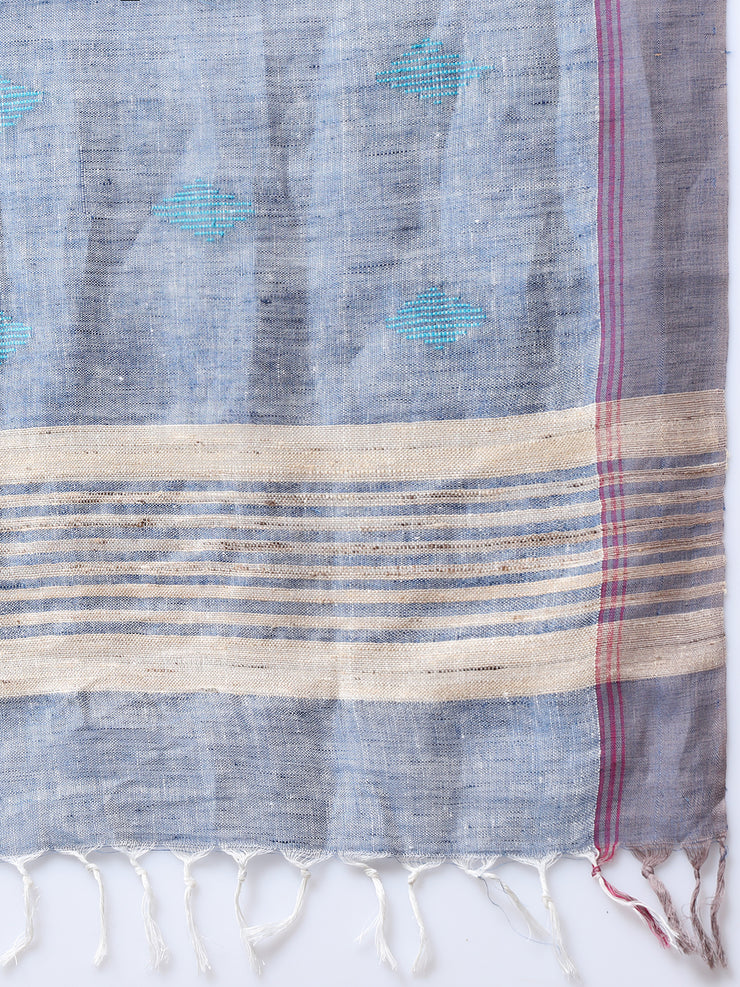 Light Grey Handloom Linen Saree