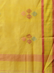 Yellow jamdani handloom phulia cotton saree