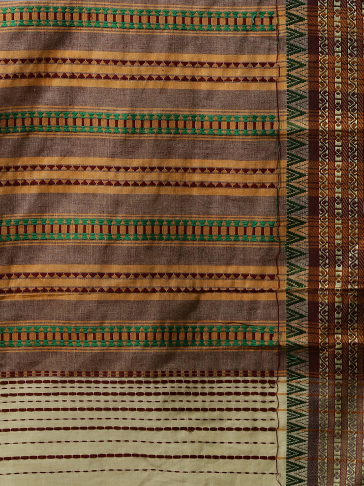 Cream begumpuri handloom cotton saree