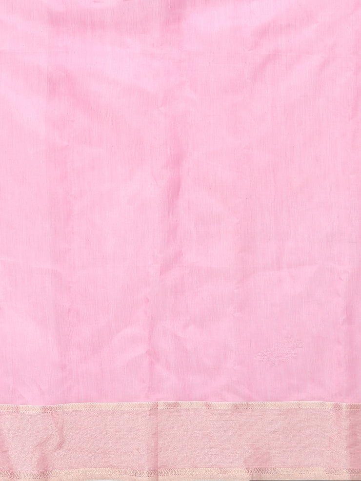 White & pink silk cotton printed maheswari saree