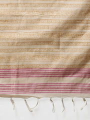 Cream brown handblock printed cotton saree