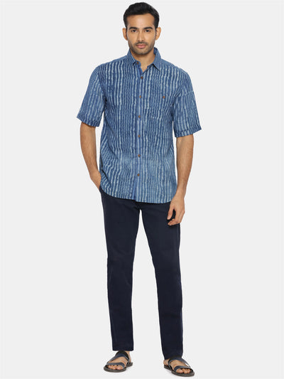 Handblock indigo short sleeve shirt