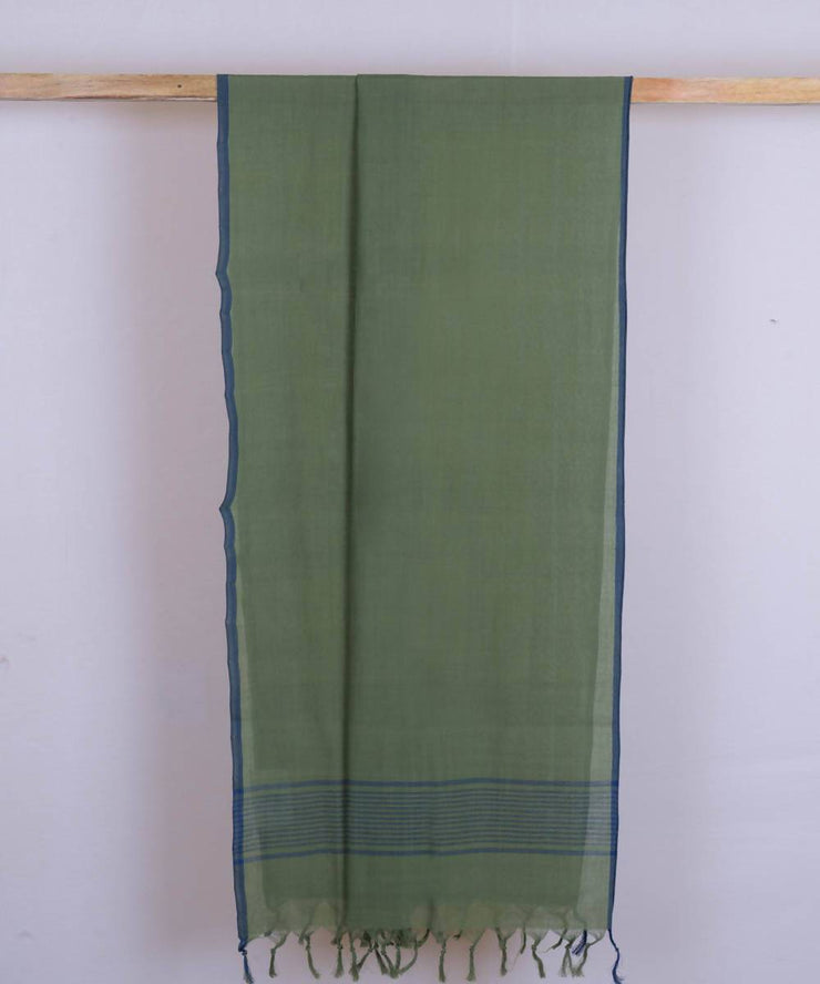 Olive green handwoven cotton stole