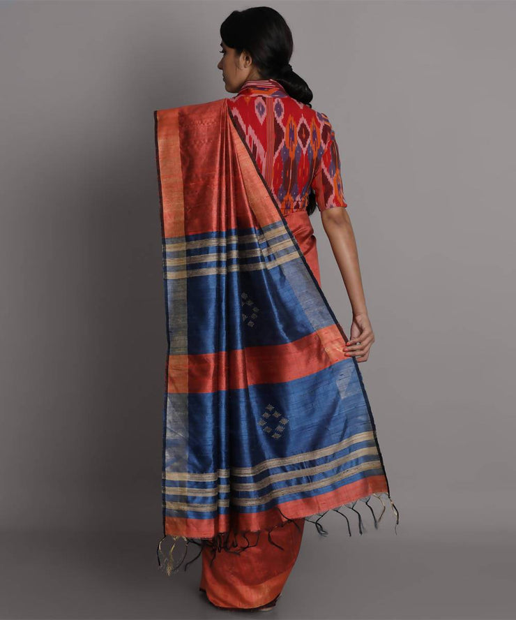 Rust handwoven tussar silk saree