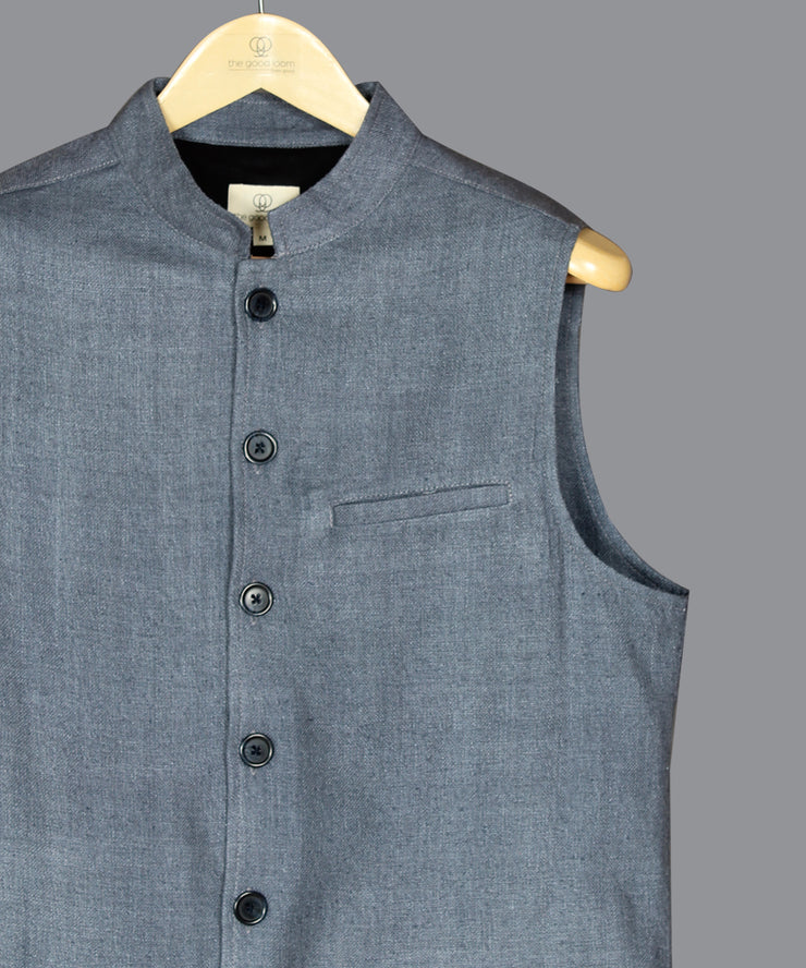 Steel grey noil silk nehru jacket
