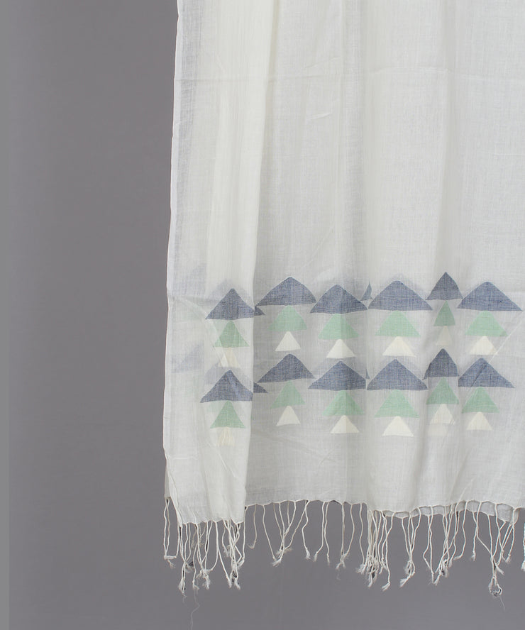 Natural white muslin stole in multicolor jamdani motif