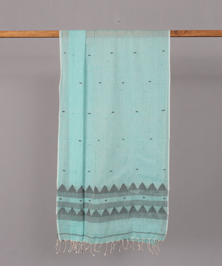 Light turquoise blue muslin stole in black motif