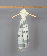 Natural white stole in black jamdani motif