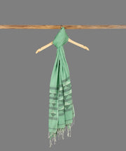 Green Handloom Cotton Jamdani Stole