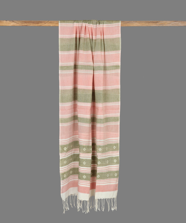Striped Handloom Cotton Jamdani Stole
