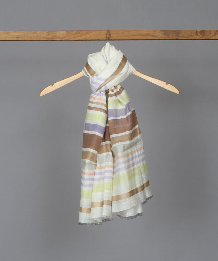 Multicolor stripes silk cotton stole