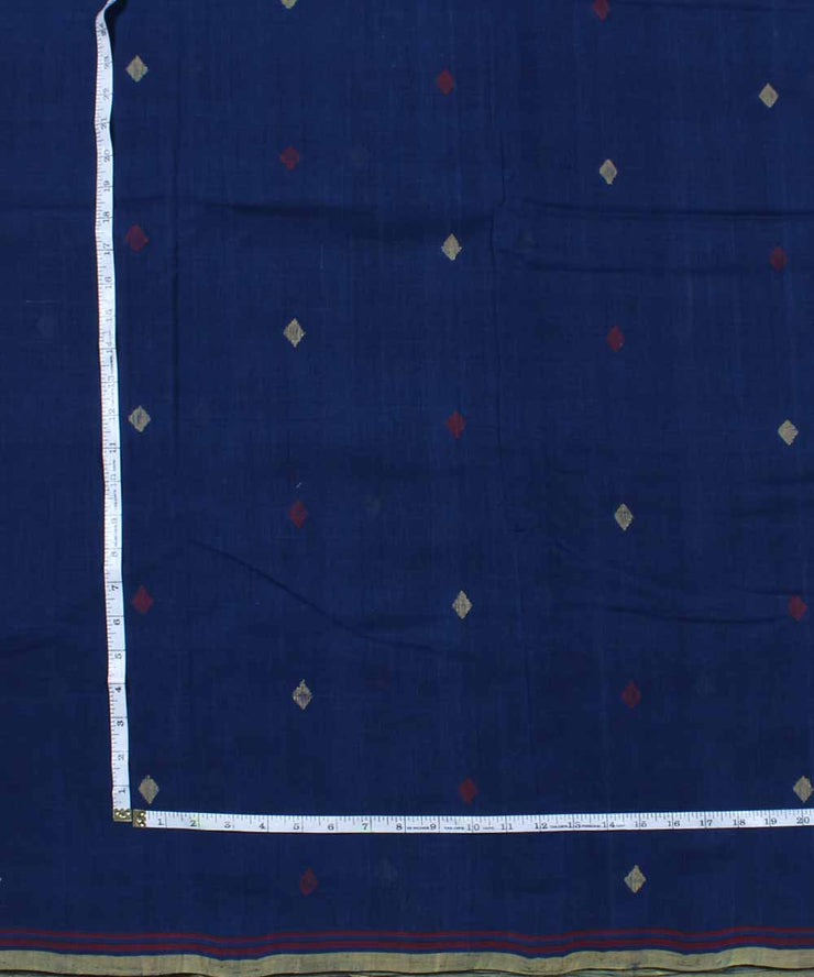 navy blue cotton natural dyed handloom fabric