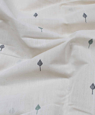off white leaf motif handloom fabric