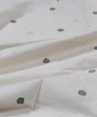 off white round motif handloom fabric