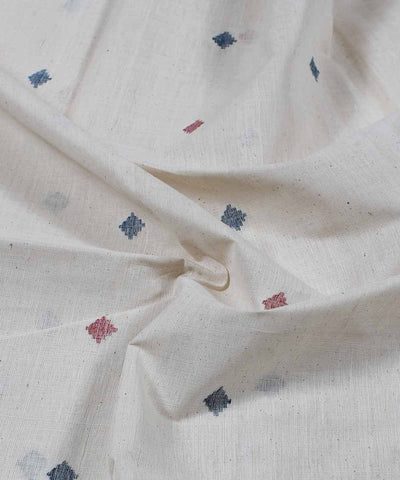 off white handloom diamond motif fabric