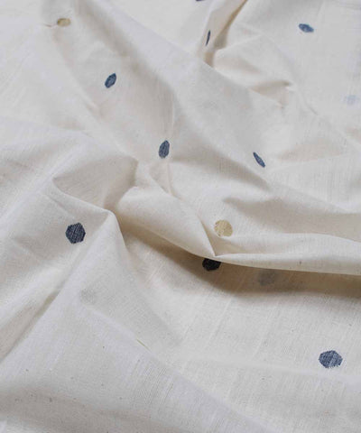 off white handloom round motif fabric