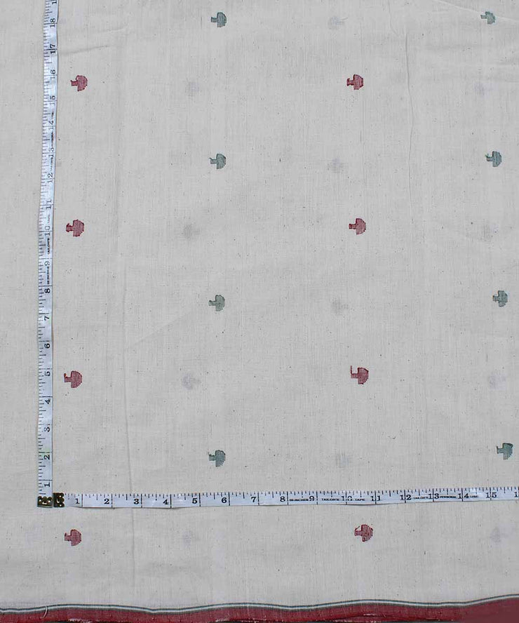 abstract motif handloom off white fabric