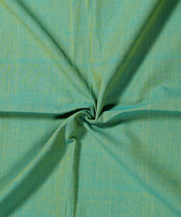 Aqua beige handloom cotton fabric