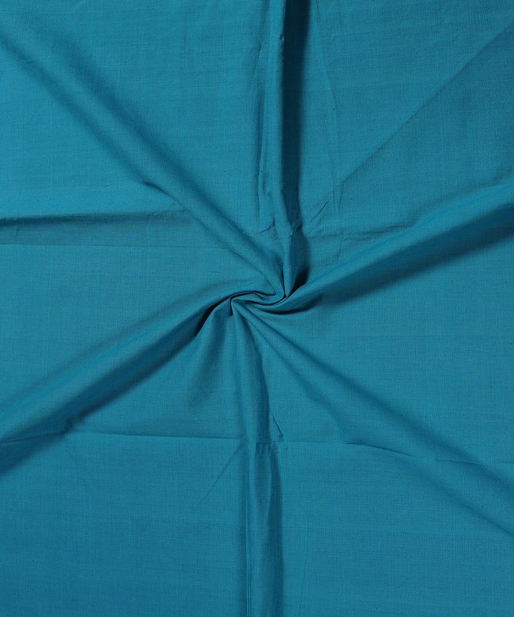 Handwoven Teal Blue Cotton Fabric