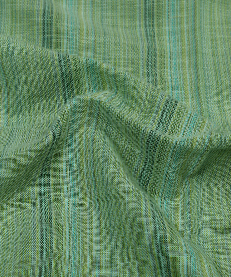 green stripe handspun handloom cotton fabric