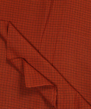 rust orange checks handspun handloom fabric