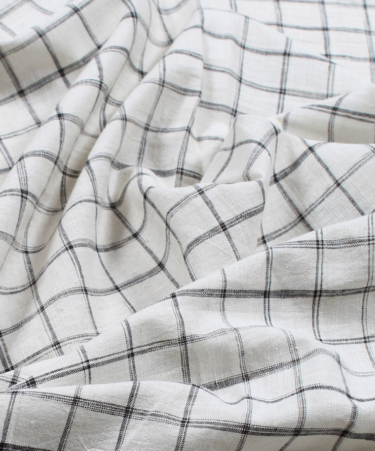 black checks handspun handloom cotton fabric