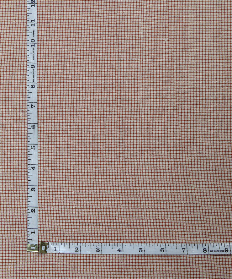 small checks handspun handloom cotton fabric