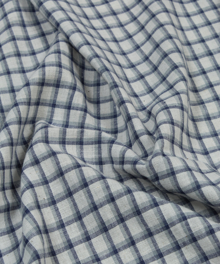 indigo checks handloom handspun cotton fabric