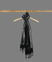 Chuna Patri Block Printed Black Cotton Stole