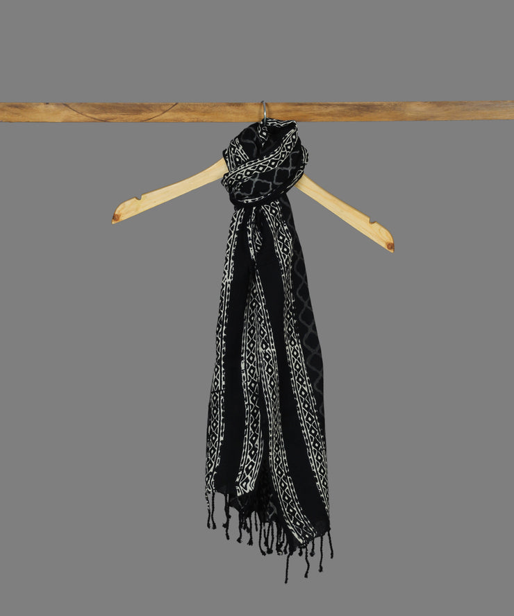 Black Handblock Printed Cotton Stole
