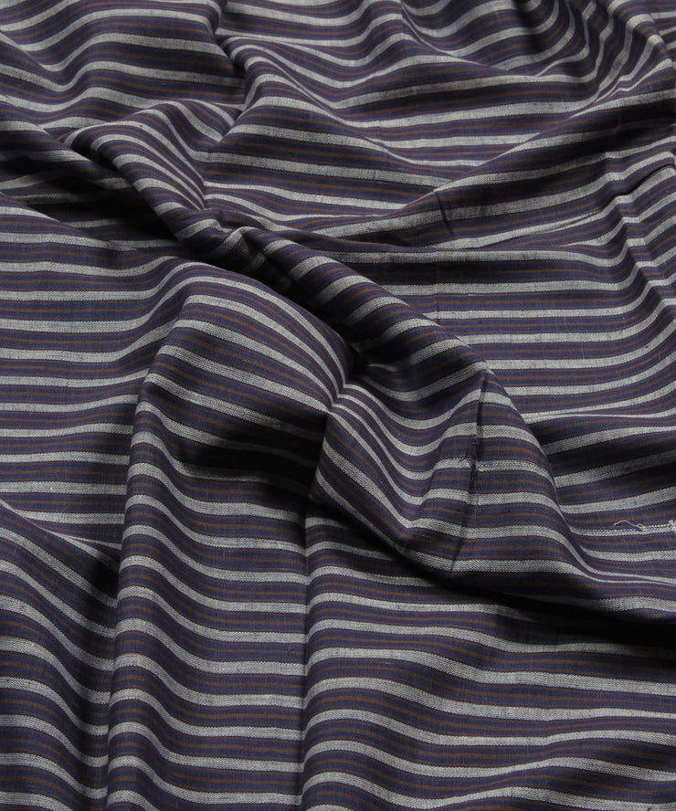 blue grey stripe handwoven handspun fabric
