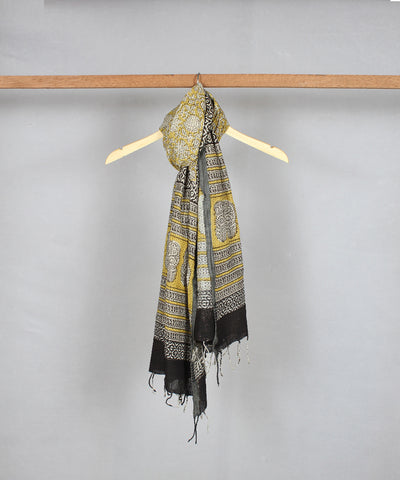 bagru handblock print yellow cotton stole