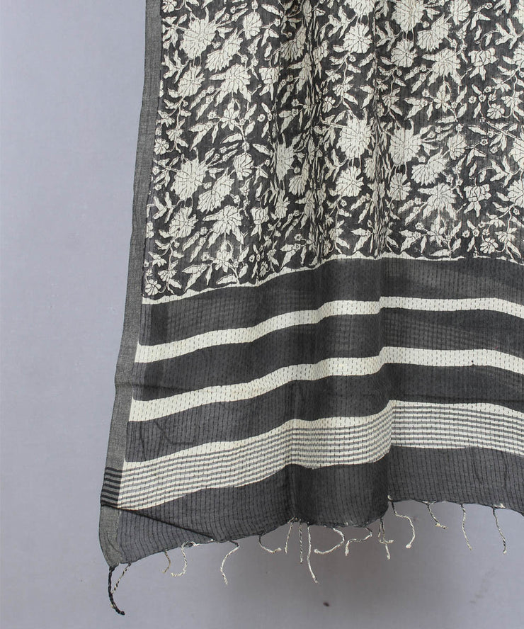 grey bagru handblock printed cotton stole