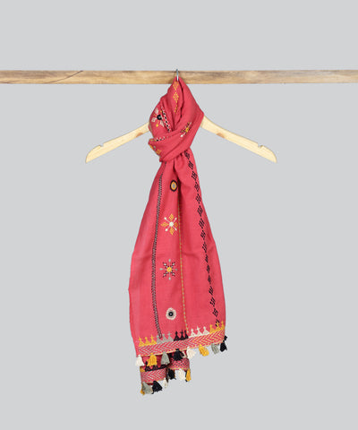 Pink Lambani Hand Embroidery Cotton Stole