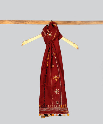 Maroon Lambani Hand Embroidery Cotton Stole
