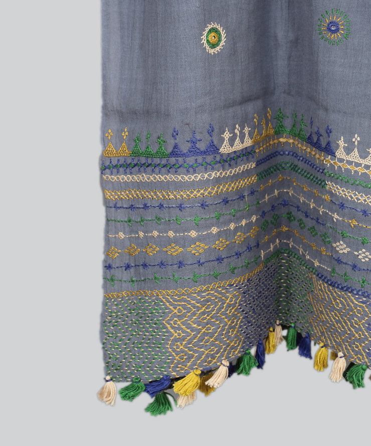 Grey Lambani Hand Embroidery Cotton Stole