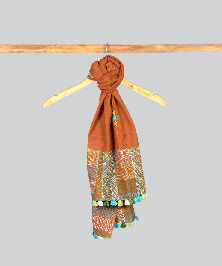 Brown Lambani Hand Embroidery Cotton Stole