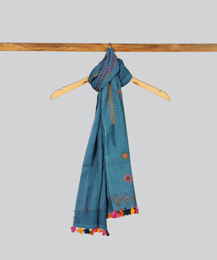 Blue Lambani Hand Embroidery Cotton Stole
