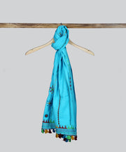 Sky Blue Lambani Hand Embroidery Cotton Stole
