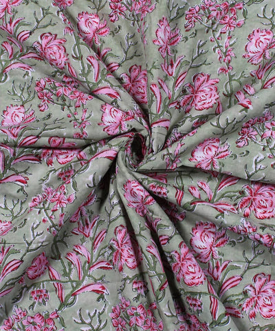 Green Handblock Print Floral Cotton Fabric