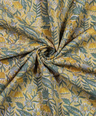 Yellow Handblock Print Floral Cotton Fabric