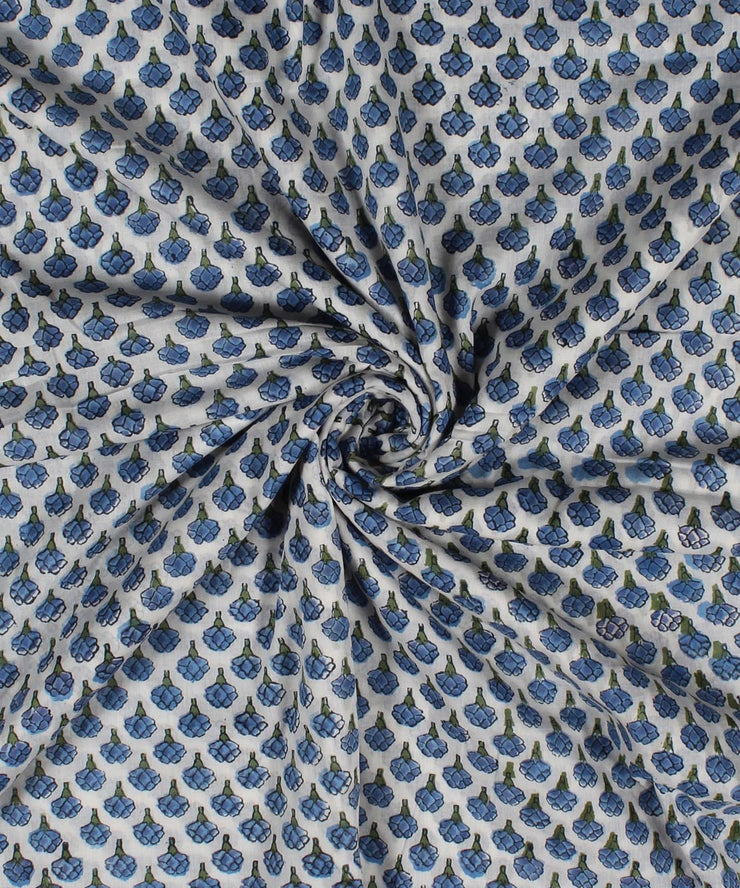 Blue Floral Handblock Printed Cotton Fabric