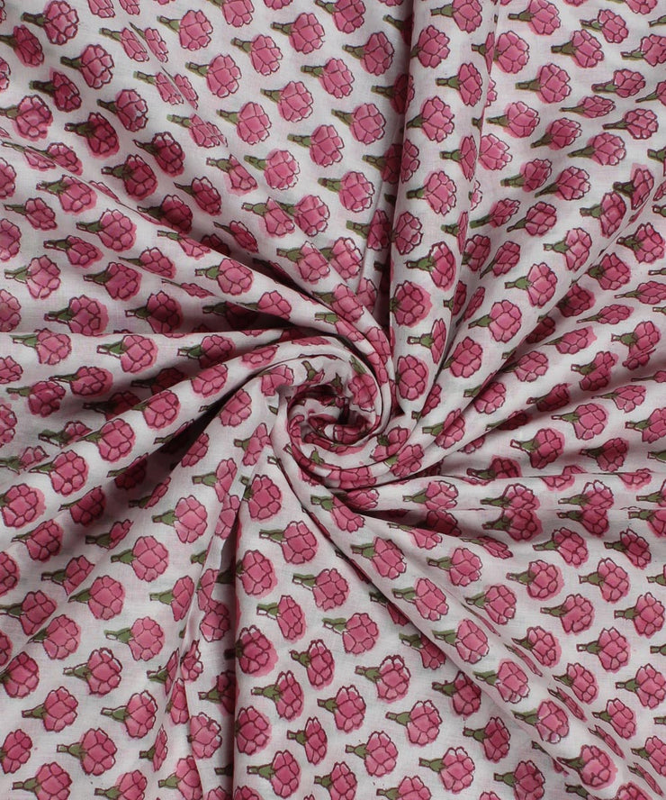 White Block Print Red Floral Cotton Fabric